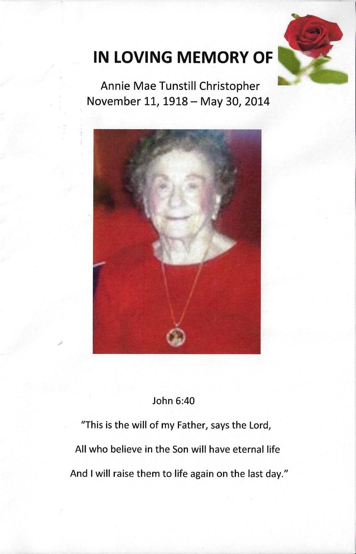Annie Mae Christopher Obituary - Athens, AL