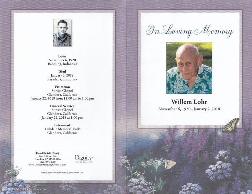 Willem Lohr Obituary - Glendora, CA